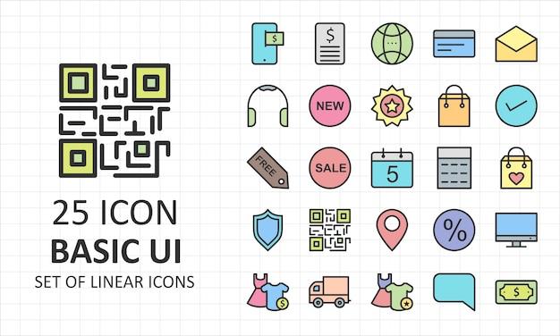 Conjunto de ícones básicos da interface do usuário