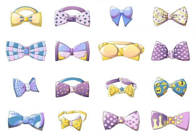Conjunto de ícones bowtie, estilo cartoon