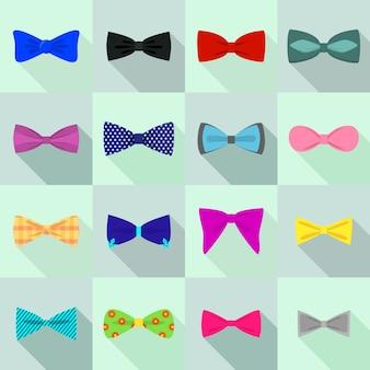 Conjunto de ícones bowtie, estilo simples
