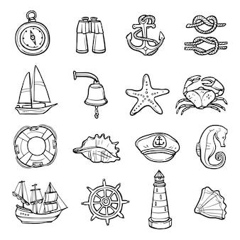 Conjunto de ícones branco preto náutico