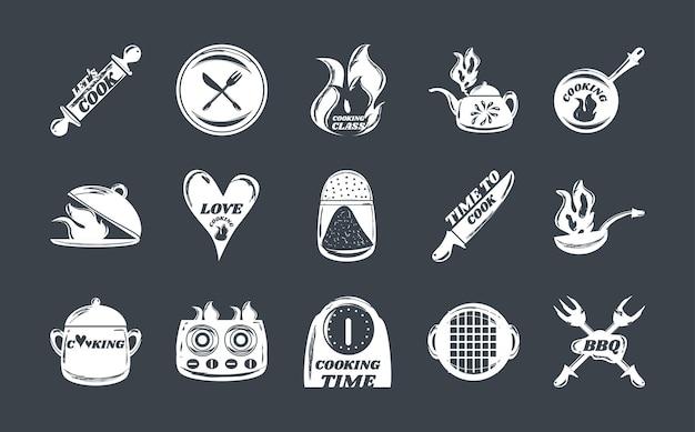Conjunto de ícones brancos de cozinha, rolo de massa, panela, panela, faca, relógio, fogão, ilustração