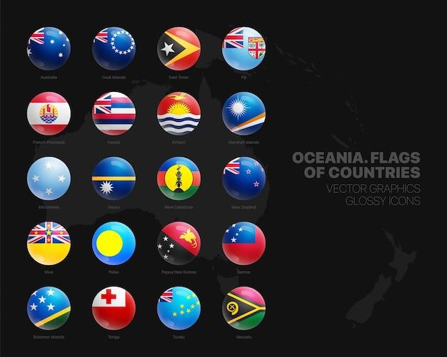 Conjunto de ícones brilhantes de esfera 3d sinalizadores de países da oceania