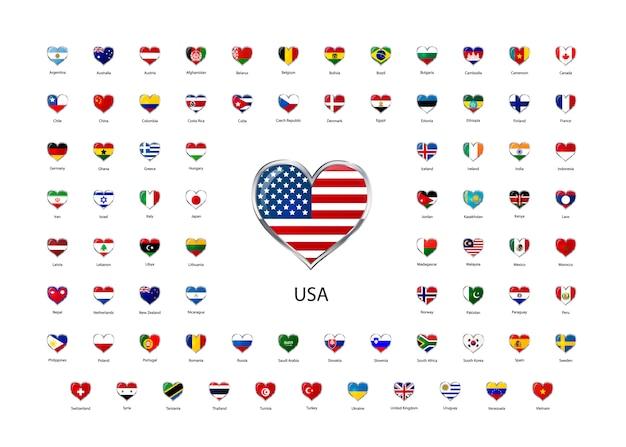 Conjunto de ícones brilhantes em forma de coração com borda metálica de bandeiras dos estados soberanos do mundo