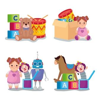 Conjunto de ícones, brinquedos fofos, crianças