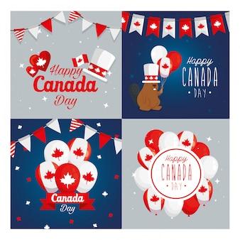 Conjunto de ícones canadenses quadros, feliz dia do canadá feriado e ilustração do tema nacional