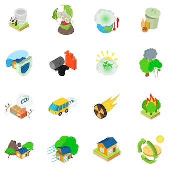 Conjunto de ícones catastrófico ecológico