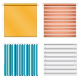 Conjunto de ícones cegos. conjunto realista de ícones do vetor cego isolado