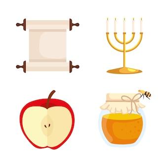 Conjunto de ícones, celebração de rosh hashaná, ano novo judaico
