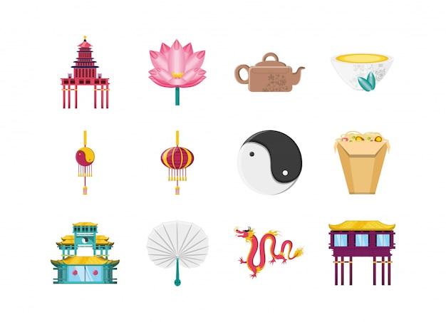 Conjunto de ícones chineses isolados