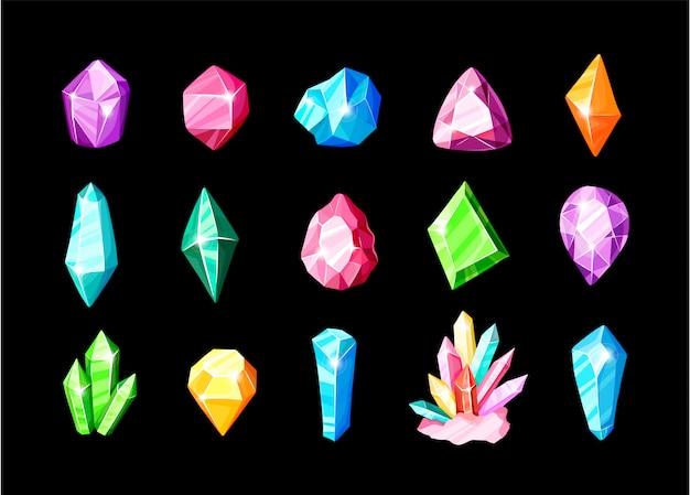Conjunto de ícones - colorido azul, dourado, rosa, violeta, cristais de arco-íris ou gemas, coleção de símbolos