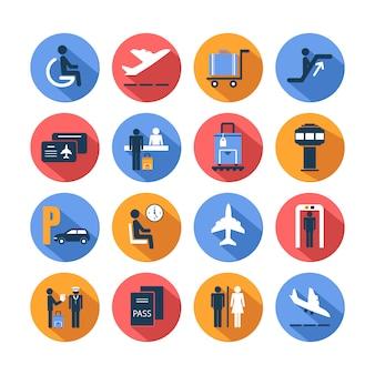 Conjunto de ícones coloridos aeroporto