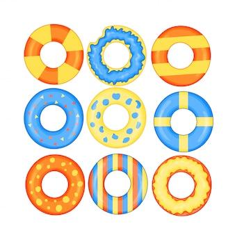 Conjunto de ícones coloridos anéis de natação isolado