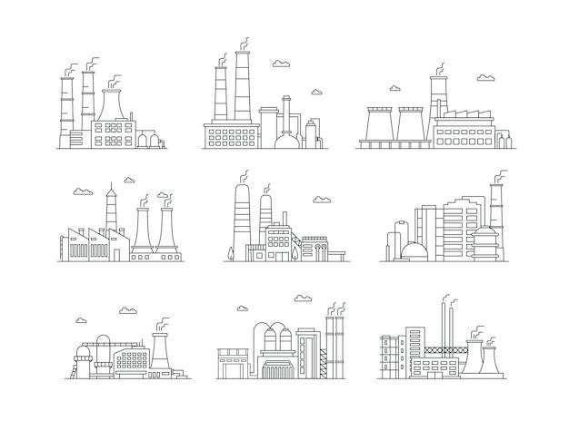 Conjunto de ícones coloridos complexos industriais instalações de manufatura isoladas edifícios de fábrica