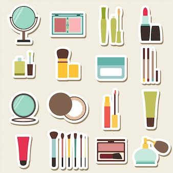Conjunto de ícones coloridos de beleza e cosméticos