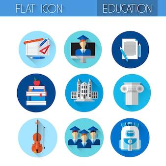 Conjunto de ícones coloridos de coleção de educação
