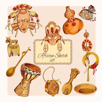 Conjunto de ícones coloridos de esboço da áfrica