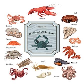 Conjunto de ícones coloridos de frutos do mar desenhados à mão