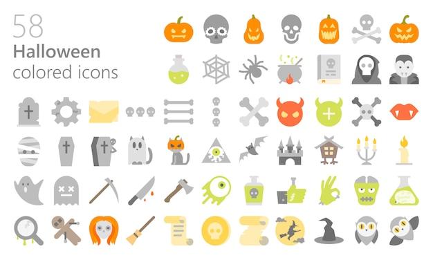 Conjunto de ícones coloridos de halloween
