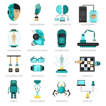 Conjunto de ícones coloridos de inteligência artificial