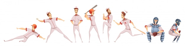 Conjunto de ícones coloridos de jogadores de beisebol