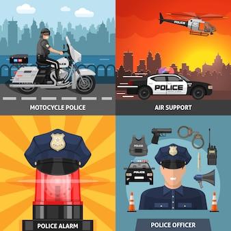 Conjunto de ícones coloridos de polícia