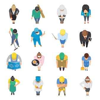 Conjunto de ícones coloridos de profissões vista superior