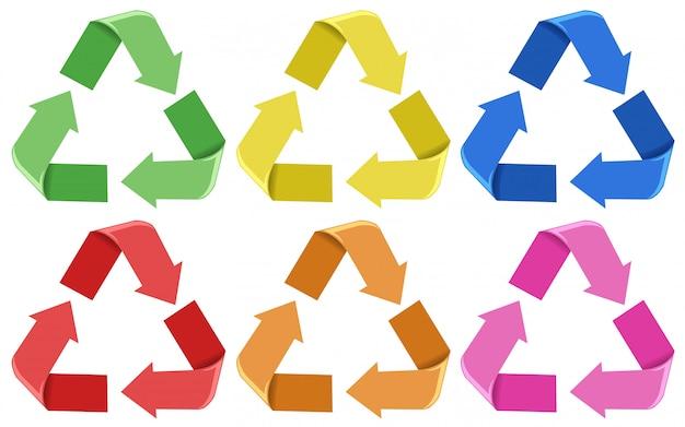 Conjunto de ícones coloridos de reciclagem