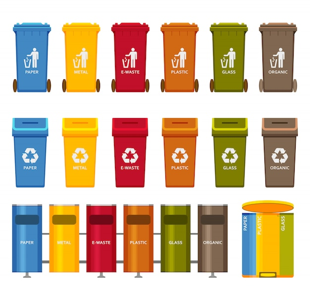 Conjunto de ícones coloridos de recipientes de lixo. ilustração