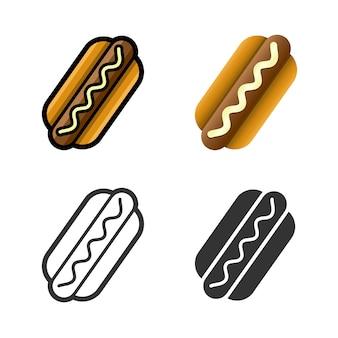 Conjunto de ícones coloridos de vetor de cachorro-quente