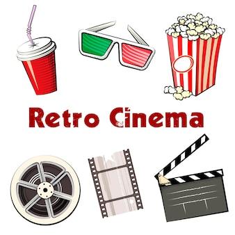 Conjunto de ícones coloridos do retro cinema com um refrigerante em uma caneca para viagem óculos 3d bobina de pipoca de filme de 35 mm e claquete