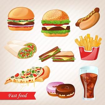 Conjunto de ícones coloridos dos desenhos animados de fast-food