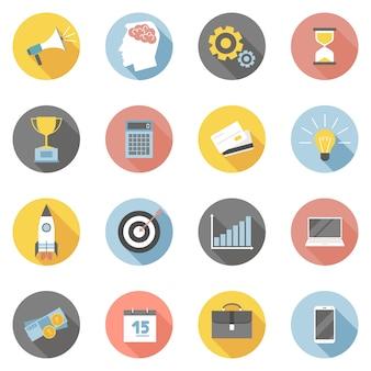 Conjunto de ícones coloridos negócios plano