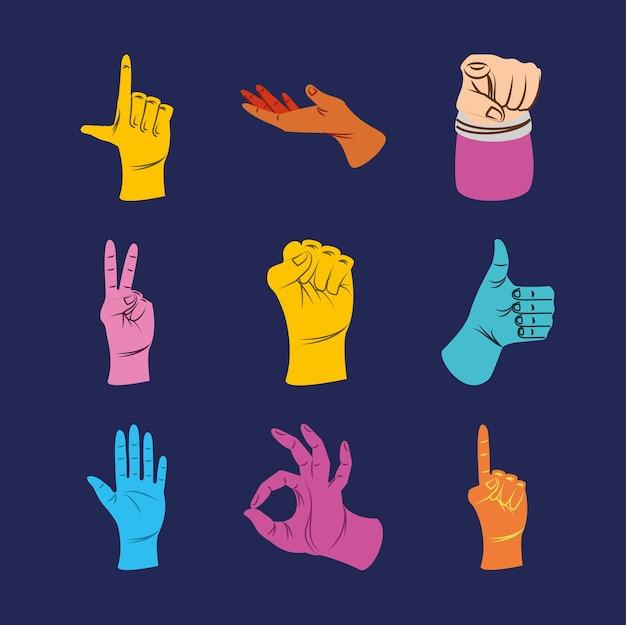 Conjunto de ícones coloridos para mãos esquerdas
