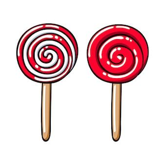 Conjunto de ícones coloridos pirulitos doces