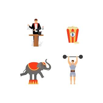 Conjunto de ícones coloridos plana de vetor de circo