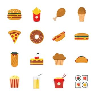 Conjunto de ícones coloridos / plana dos desenhos animados fast food design definido.