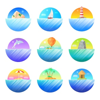 Conjunto de ícones coloridos redondos ilha tropical