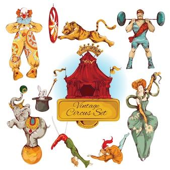 Conjunto de ícones coloridos vintage do circus