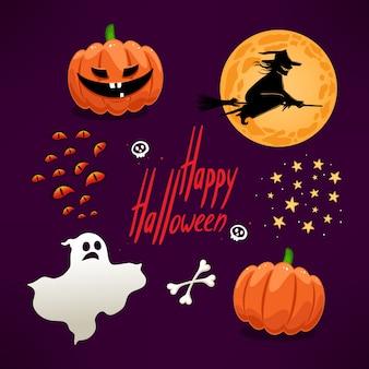 Conjunto de ícones com abóboras fofas e outros atributos do halloween