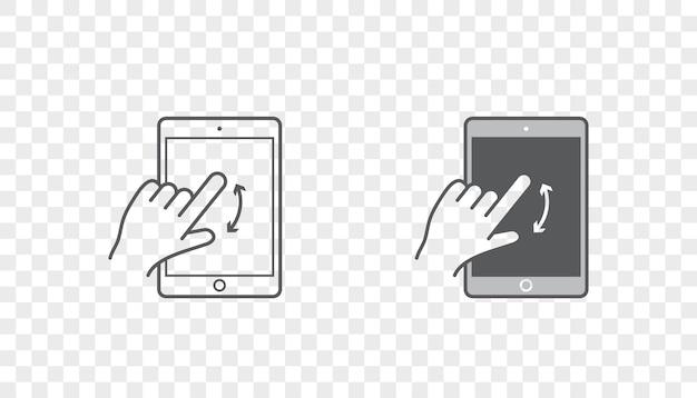 Conjunto de ícones com as mãos segurando um dispositivo inteligente com gestos
