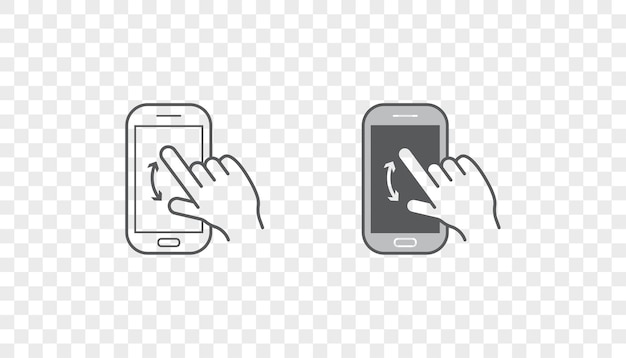 Conjunto de ícones com as mãos segurando um dispositivo inteligente
