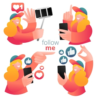 Conjunto de ícones com blogueiro feminino usando telefone celular e mídias sociais para promover serviços e bens para seguidores online.