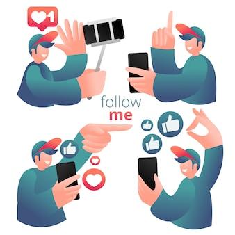 Conjunto de ícones com blogueiro masculino usando telefone celular e mídias sociais para promover serviços e bens para seguidores online.