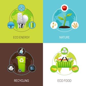 Conjunto de ícones com diferentes tipos de ilustração do conceito de ecologia ilustrações vetoriais