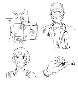 Conjunto de ícones com o tema medicina médico e enfermeira usando máscaras de kit de primeiros socorros