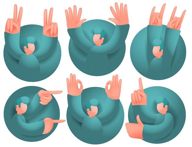 Conjunto de ícones com personagem de desenho animado masculino tendo comunicação emocional. várias emoções.