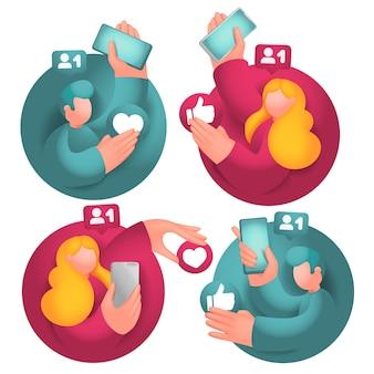Conjunto de ícones com personagens de desenhos animados masculinos e femininos