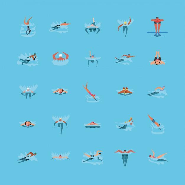 Conjunto de ícones com pessoas nadando
