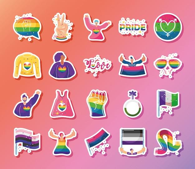 Conjunto de ícones com símbolos da comunidade lgbtq