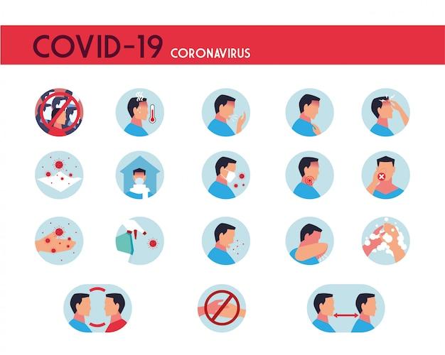 Conjunto de ícones com sintomas, prevenção e transmissão de coronavírus